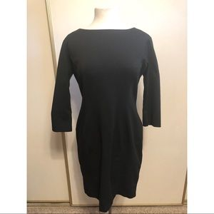 3/4 sleeve body con black dress